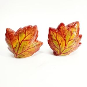 Fall Maple Leaf Ceramic S&P Shakers Set